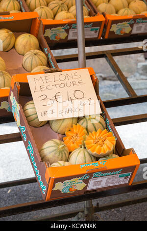 SAINT-LEONARD-DE-NOBLAT, FRANCE - 22 JULY, 2017: French melons - Charentais or Cantaloupe - on sale at a local french - Stock Photo