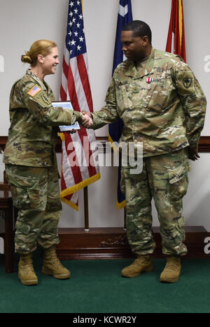 Leaders of the South Carolina National Guard recognized Maj. Julian Milligan for his service as the executive officer - Stock Photo