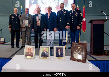 The S.C. Army National Guard Warrant Officer Hall of Fame welcomed three new members during a ceremony, April 3, - Stock Photo
