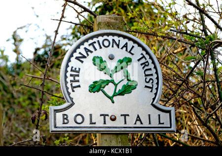 BOLT TAIL NATIONAL TRUST SIGN SOUTH DEVON ENGLAND UK - Stock Photo