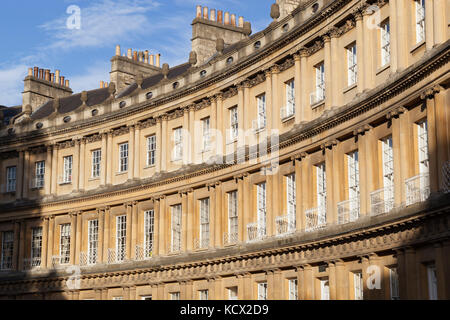 Detail of Georgian buildings of the Circus designed by John Wood, Bath, Somerset, England, United Kingdom, Europe - Stock Photo