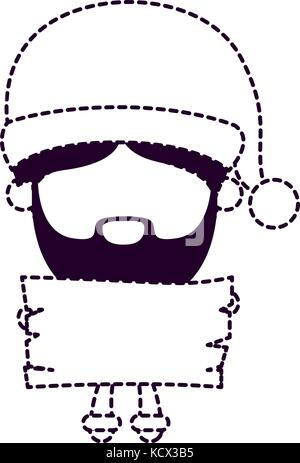 santa claus faceless cartoon holding a wooden piece on dotted monochrome silhouette - Stock Photo