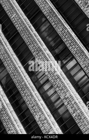 Black and white Monochrome Image of The Tate Modern Art Gallery for Modern and Contemporary Art, Bankside Southwark - Stock Photo