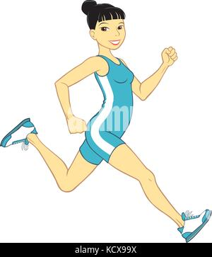 Vector illustration of a young Asian woman running in blue leotard with white stripe on the side - Stock Photo