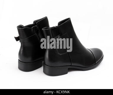 picture of a Stylish men's black boots isolated on white - Stock Photo