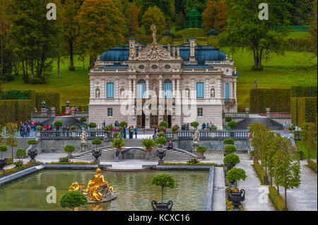 Frontal View on Linderhof Palace. Bavaria, Germany - Stock Photo