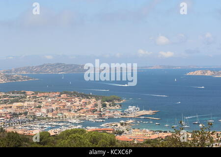A view from above of Palau, in Olbia, Sardinia - Stock Photo