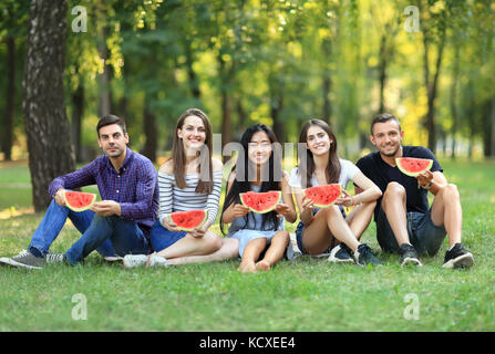 Portrait of friends sitting in row on grass with watermelon. Young smiling women and men relaxing at picnic with - Stock Photo