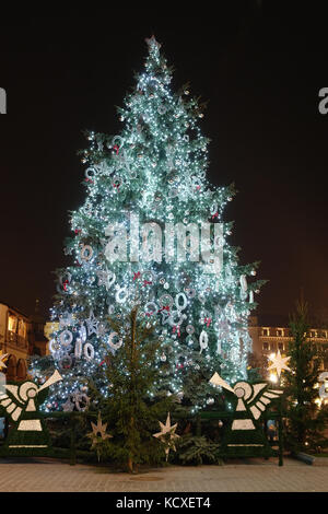 Giant christmas tree decorated with lights stock photo 17899742 alamy giant outdoor christmas tree decorated with lights illuminated at night stock photo aloadofball Image collections
