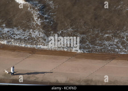 A lady walking her dog along Blackpool sea front. Credit Lee Ramsden / Alamy - Stock Photo