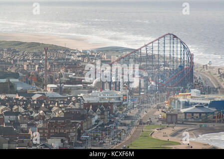 Image of Blackpool Pleasure beach on a sunny summers afternoon. Credit Lee Ramsden / Alamy - Stock Photo