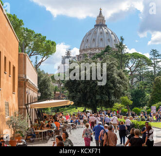 The dome of St Peter's Basilica from the gardens of the Vatican Museums, Vatican City, Rome, Italy - Stock Photo