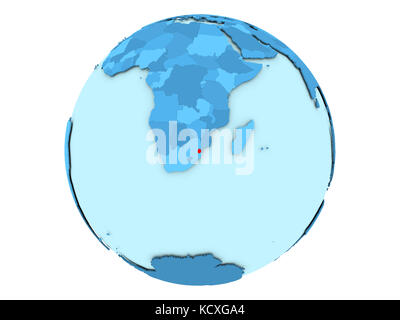 Swaziland highlighted in red on blue political globe. 3D illustration isolated on white background. - Stock Photo