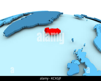 Map of Iceland highlighted in red on a globe 3D illustration