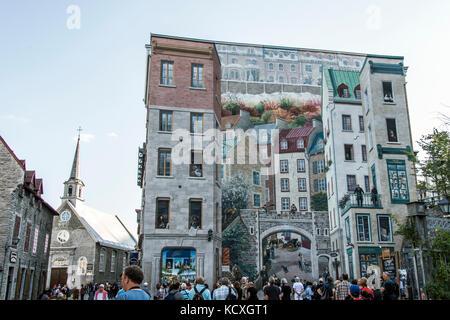 ... Quebec City Canada 13.09.2017 Fresco Fresque Des Quebecois Painting Art  Wall Near Place Royale Part 89