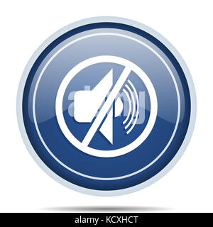 Mute blue round web icon. Circle isolated internet button for webdesign and smartphone applications. - Stock Photo