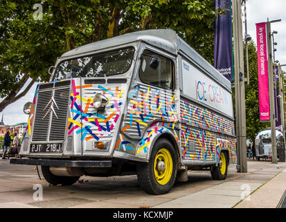 A vintage Citroen H van, converted to an ice cream van and covered in colourful tape, outside the National Theatre, - Stock Photo