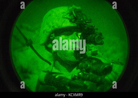 A U.S. Marine with Regimental Surveillance & Target Acquisition Company (RSTAC), 1st Marine Division, looks through - Stock Photo