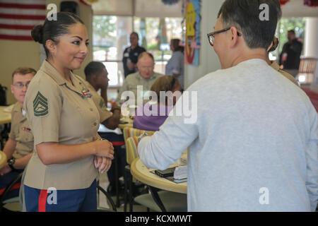 Gunnery Sgt. Cecilia Reynoso, with Combat Logistics Battalion 11, Headquarters Regiment, 1st Marine Logistics Group, - Stock Photo