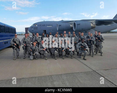 New York Air National Guard Airmen assigned to the 105th Airlift Wing's Base Defense Squadron pose for a group picture - Stock Photo