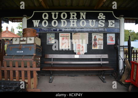 Quorn & Woodhouse Platform Signs at Great Central Railway Steam Gala 2017 Quorn Station, Loughborough - Stock Photo