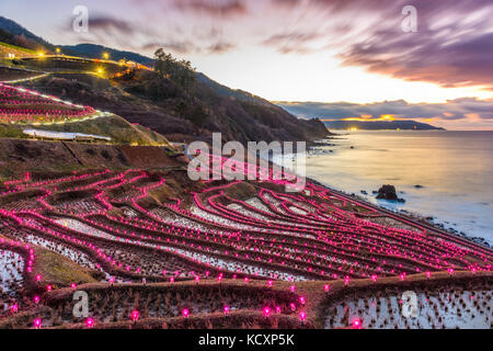Wajima, Japan at Shiroyone Senmaida rice terraces night light up. - Stock Photo