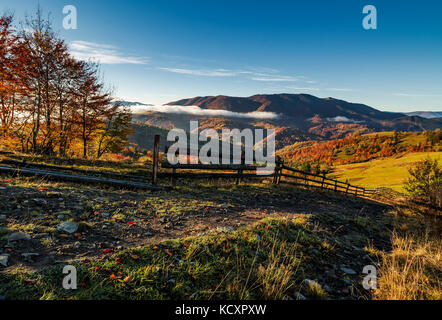 gorgeous foggy morning in mountainous countryside. beautiful landscape with wooden fence and trees with yellow foliage - Stock Photo