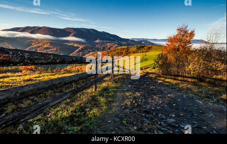 gorgeous foggy morning in mountainous countryside. beautiful landscape with path near the wooden fence and trees - Stock Photo
