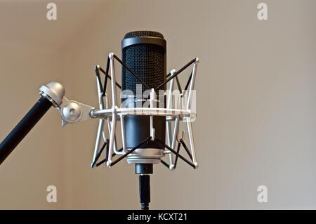 Home studio microphone on stand with shock mount - Stock Photo