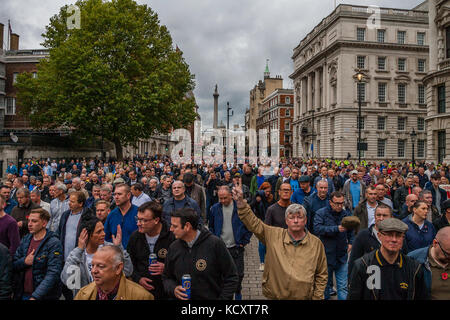 London, UK. 7th October 2017. Football fans from across the Uk march against extremism under the banner of the FLA - Stock Photo