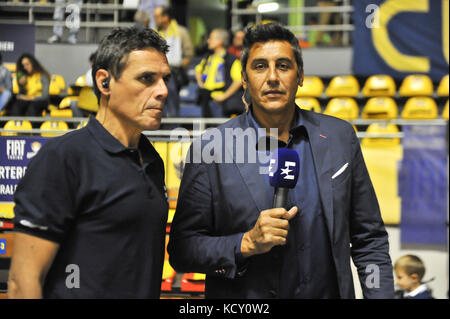 Turin, Italy. 7th October, 2017. Journalist during the CAMPIONATO BASKET SERIE A 2017/18 basketball match between - Stock Photo
