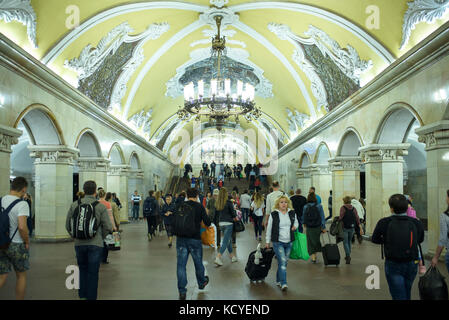 The station is noted for its being located under the busiest Moscow transport hub, Komsomolskaya Square, which serves - Stock Photo