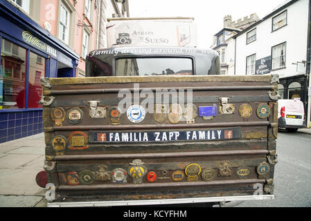 Zapp Family's car, a vintage 1928 Graham Paige stops in Brecon Town, Wales - Stock Photo