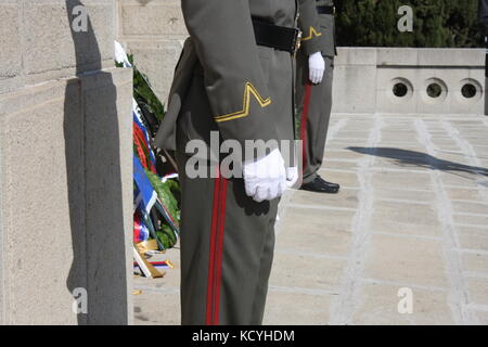 A soldier standing next to the Tomb of the Unknown Soldier. Memorial Day concept - Stock Photo