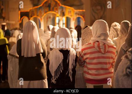 Celebration dans une eglise Chretienne dans la ville d'Asmara, les principales religions en Erythrée sont le christianisme - Stock Photo