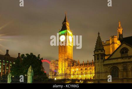 The Big Ben tower at night, London,UK. - Stock Photo