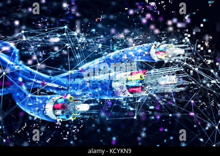 Image of optical fibers with digital effects. Concept of fast internet.3d render - Stock Photo
