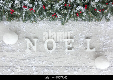 Christmas theme out of natural Christmas tree fir twigs, red holly berries, snowballs and noel written in white - Stock Photo