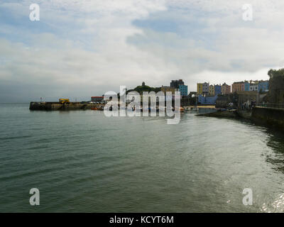 Looking across North beach to the popular harbour town and seaside resort Tenby Pembrokeshire South West Wales - Stock Photo