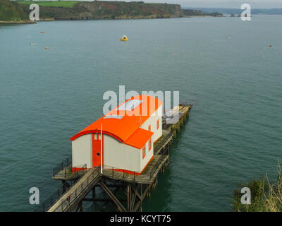 Old Lifeboat Station Tenby Pembrokeshire South West Wales over hundred years home to RNLI volunteers now a private - Stock Photo