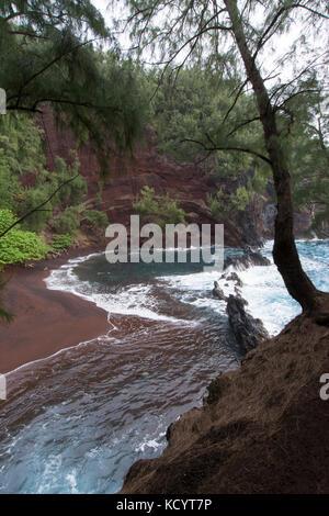 Red Sand Beach, Kaihalulu Beach,  Hana, Maui, Hawaiian Islands, USA - Stock Photo