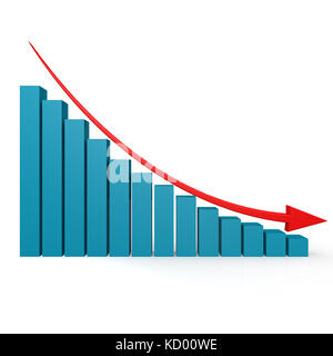 Blue graph and red arrow down image with hi-res rendered artwork that could be used for any graphic design. - Stock Photo