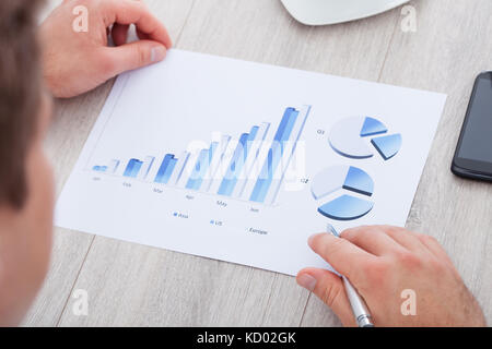 Working with bar and pie graphs analyzing data - Stock Photo