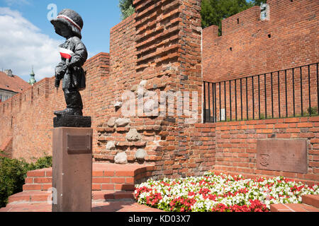 The Statue of the Little Insurgent, Warsaw, Poland. - Stock Photo