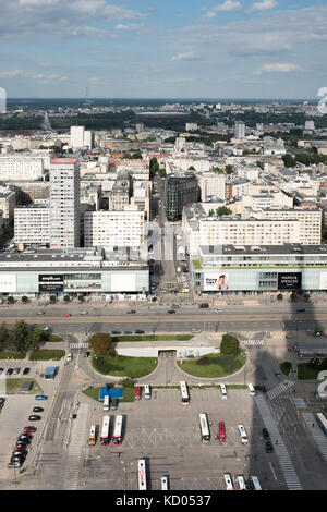 Aerial view of Warsaw, from the Palace of Culture and Science, Warsaw, Poland. - Stock Photo