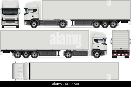 Semi-trailer truck vector mock-up for car branding and advertising. Cargo vehicle set on white. All layers and groups - Stock Photo