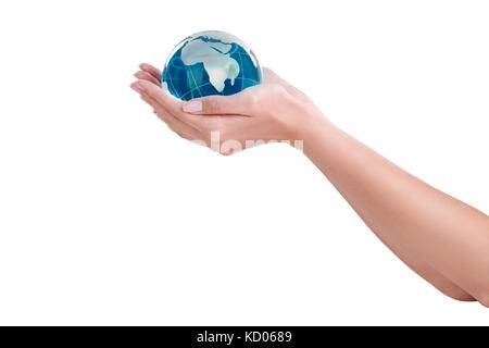 Human hands holding earth - Stock Photo