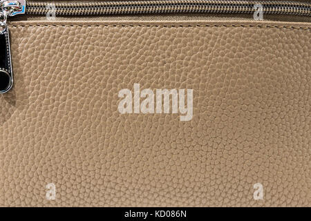 texture leather beige, leather with zipper, clasp - Stock Photo