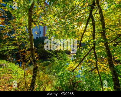 Autumn nature and castle Sneznik in Slovenia - Stock Photo