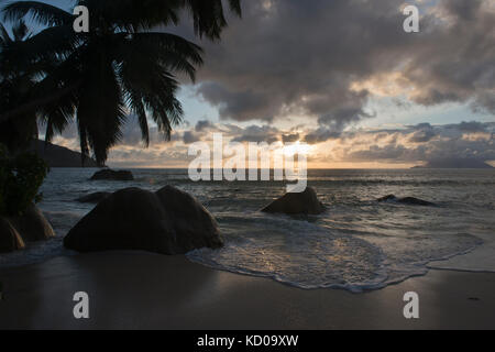 Sunset on the beach, Beau Vallon, Mahe, Seychelles - Stock Photo